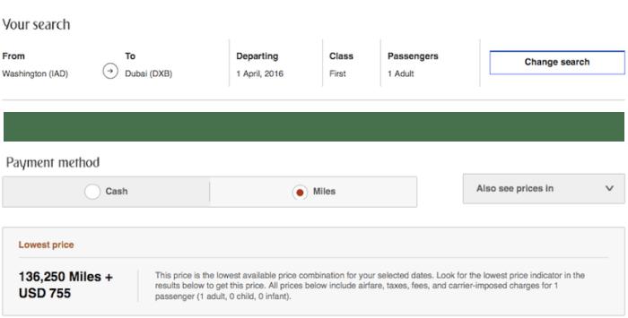 Emirates IAD DXB first