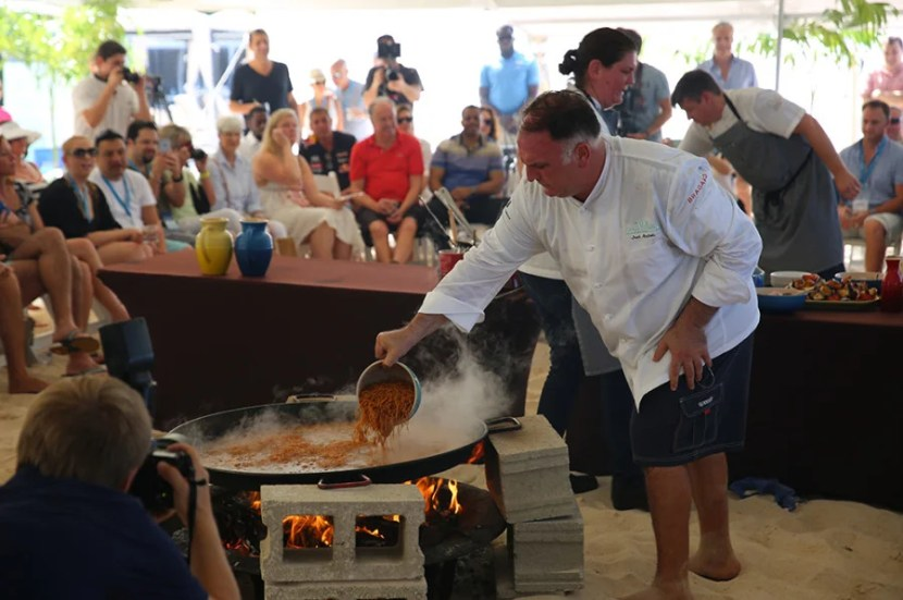 Jose Andre preparing the wonderful lobster paella.