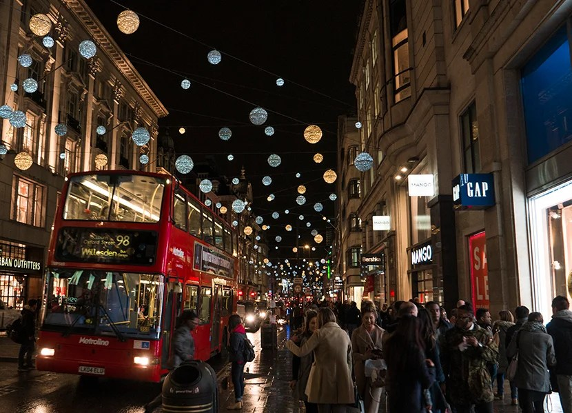 Decorative lights along Oxford Street during the holidays. Image courtesy of Mitch Berman and Kofi Lee-Berman.