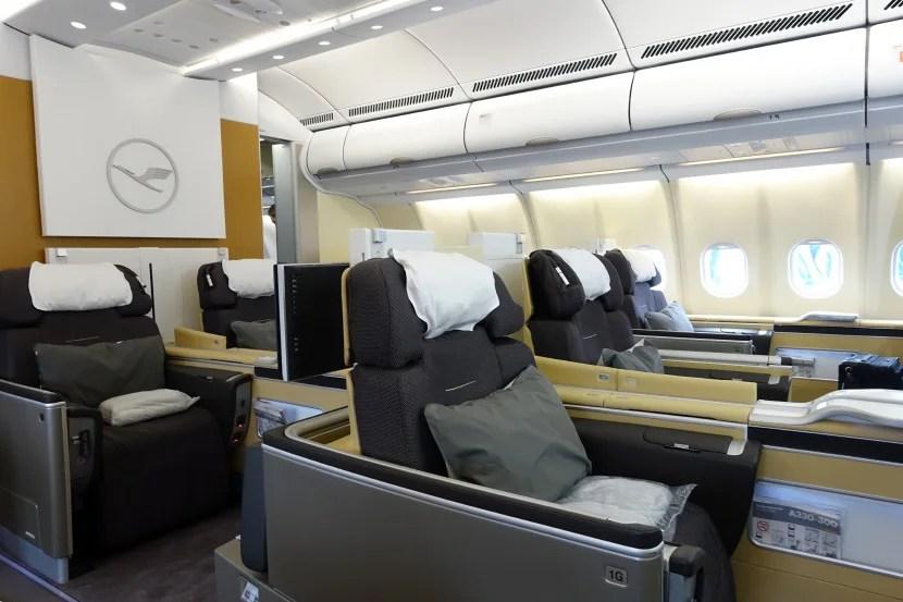 Lufthansa's A330 first-class cabin.