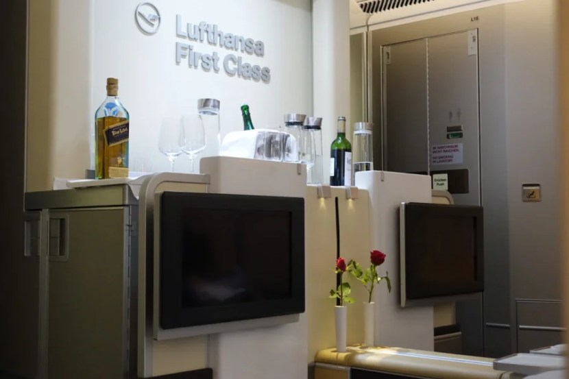A small in-flight bar at the front of first class.