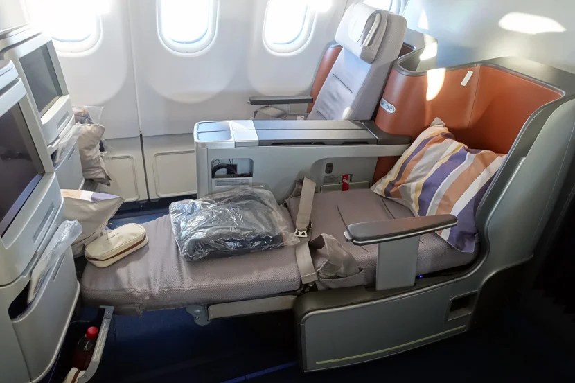 A business-class seat on Lufthansa's A330.