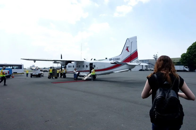 Heading to the plane en route to the Amanpulo.