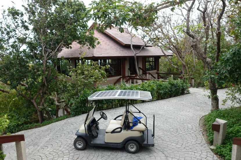 Our personal golf cart, parked outside the resort's fitness center.