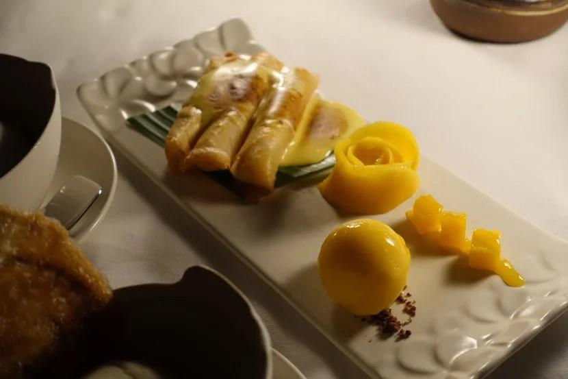 The mango trio dessert was delicious.