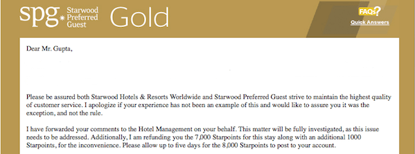 The SPG Gold rep graciously refunded the 7,000 Starpoints I paid, plus some.