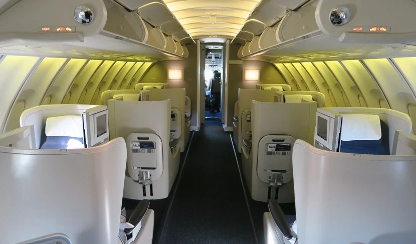 The forward part of the 747 upper deck Club World cabin. My seat (62A) is brightly lit to the far left.