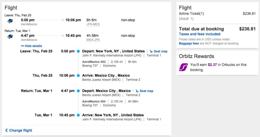 New York (JFK) to Mexico City (MEX) for $237 on Aeromexico.