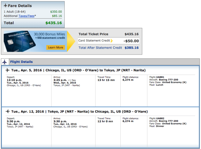 Chicago (ORD) to Tokyo (NRT) for $435 on United.