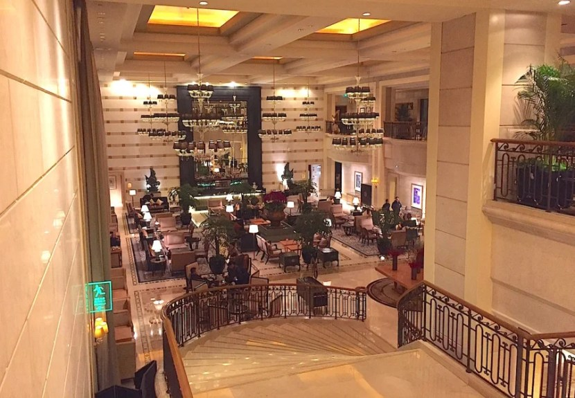 The lobby was rather grand and included the Garden Court restaurant.