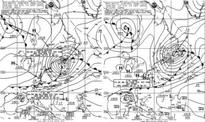 NOAA North Atlantic Weather Chart. Image courtesy of NOAA.