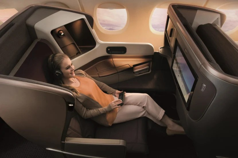 Singapore's business class offers loads of personal space. Image courtesy of Singapore Airlines.