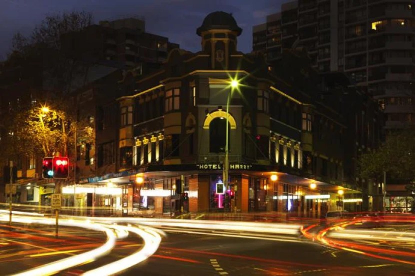 A night view of the Hotel Harry. Image courtesy of the hotel.