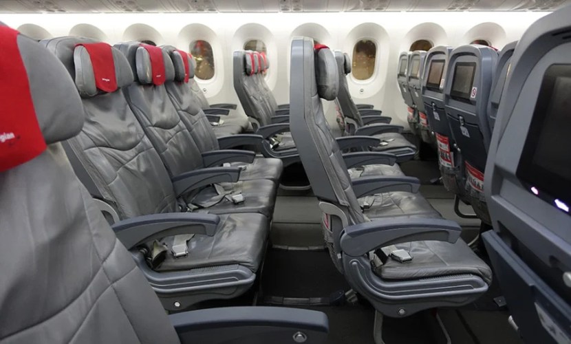 A side view of the economy cabin seats.