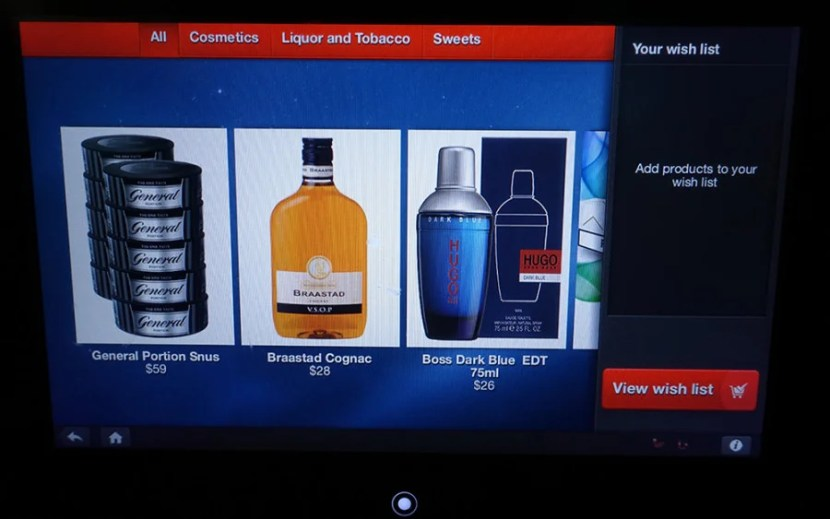 The duty free selections on board the plane.