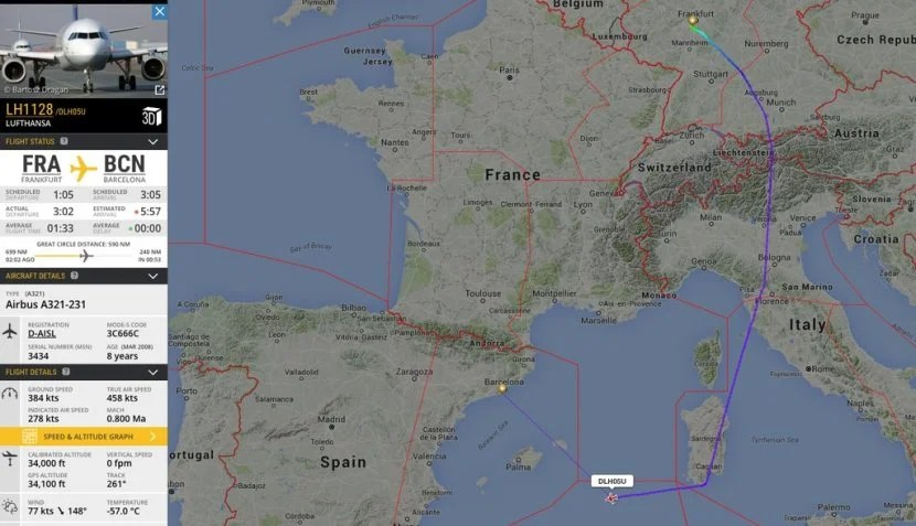 The latest strike caused over 1,000 cancellations and a lot of delayed flights. Image courtesy of FlightRadar24.