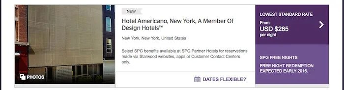 The Hotel Americano popped up on Starwood's site as one of the New York hotels I could book.