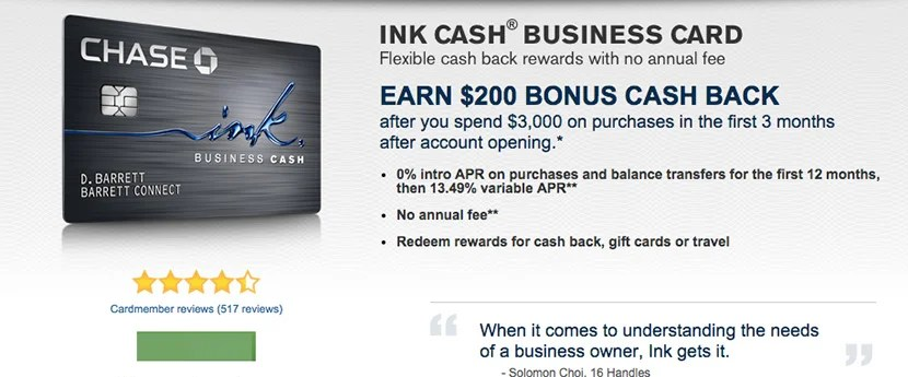 Earn 5% cash back on select purchases with the Ink Cash Business Card.