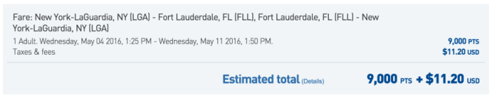 Fly New York to Fort Lauderdale round-trip from 9,000 pts + $11.20.