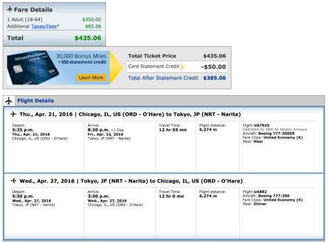 Chicago (ORD) to Tokyo (NRT) for $435.