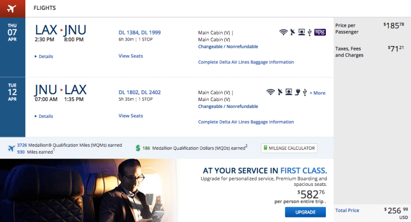 Los Angeles (LAX) to Juneau, Alaska (JNU) for $257 on Delta.