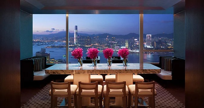 A dining area at the Conrad Hong Kong.