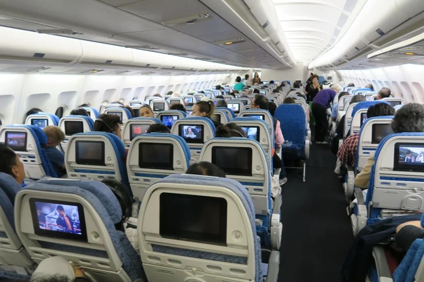Most of the economy cabin is arranged 2-4-2 — except for the last few rows of economy, which are arranged 2-3-2.