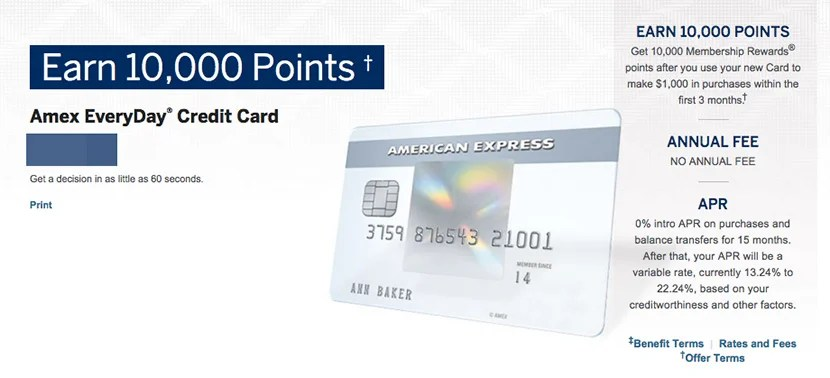 The current offer for the Amex EveryDay Card.