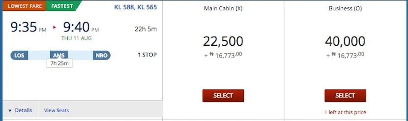 Fly 14 hours and 45 minutes for just 22,500 SkyMiles.