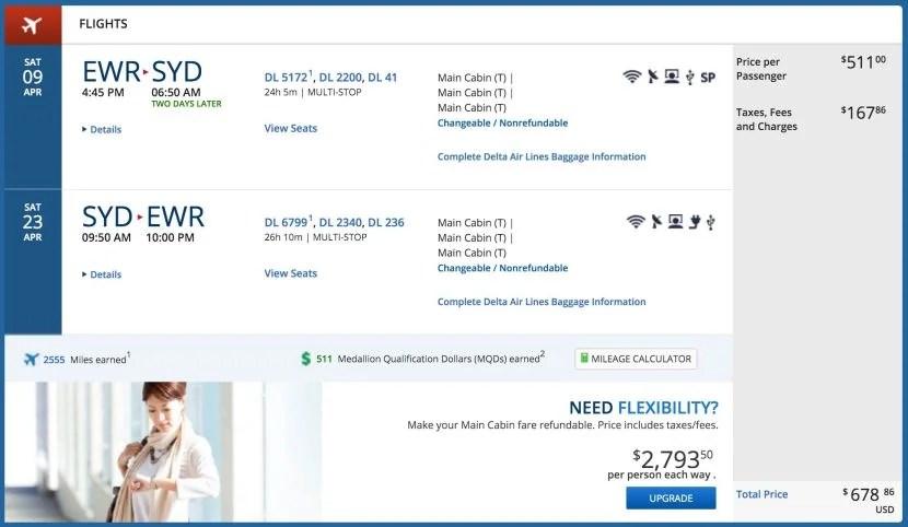Newark (EWR) to Sydney (SYD) for $679 on Delta.