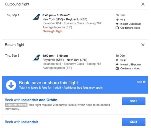 Booking through Icelandair and Orbitz will save you money for this deal.