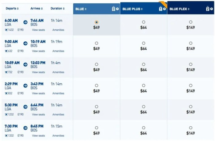 JetBlue fares from LGA to BOS.
