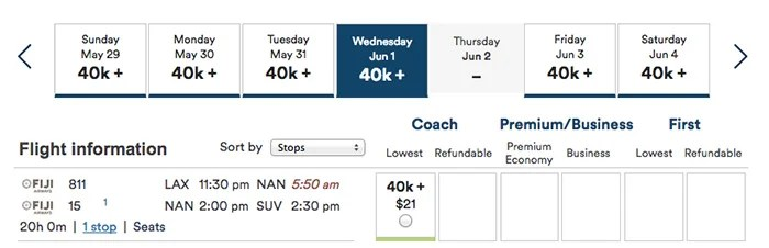 Redeem Alaska miles for flights to Fiji.