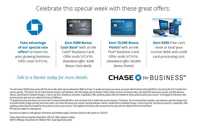 Current Chase offers include an elevated Ink Plus sign-up bonus when you apply at a branch.