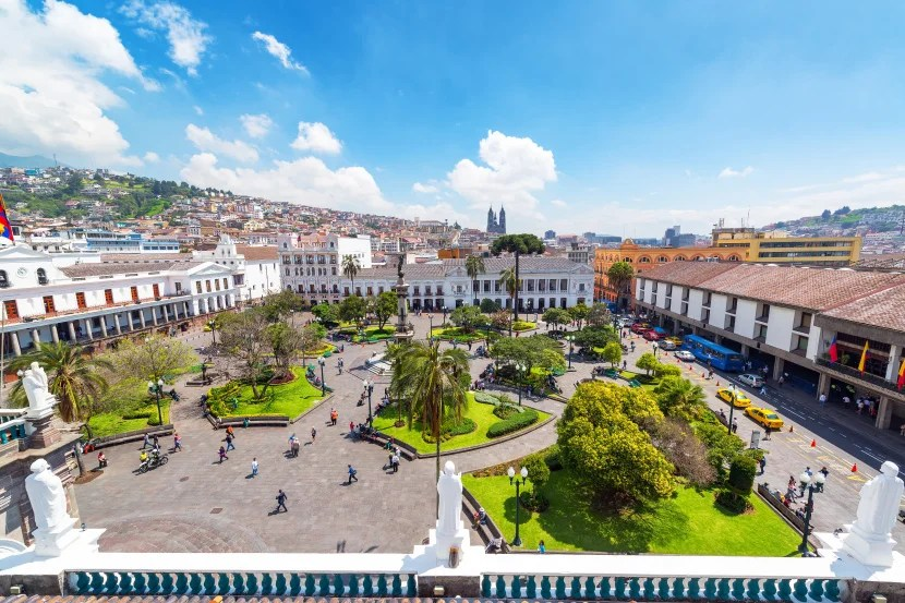 A view of the Plaza Grande in Quito, Ecuador.
