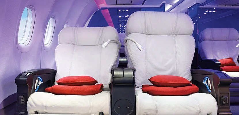 Virgin America's first-class cabin features recliner seats.