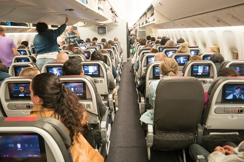 If you thought your seat was cramped, just try walking down the aisle.