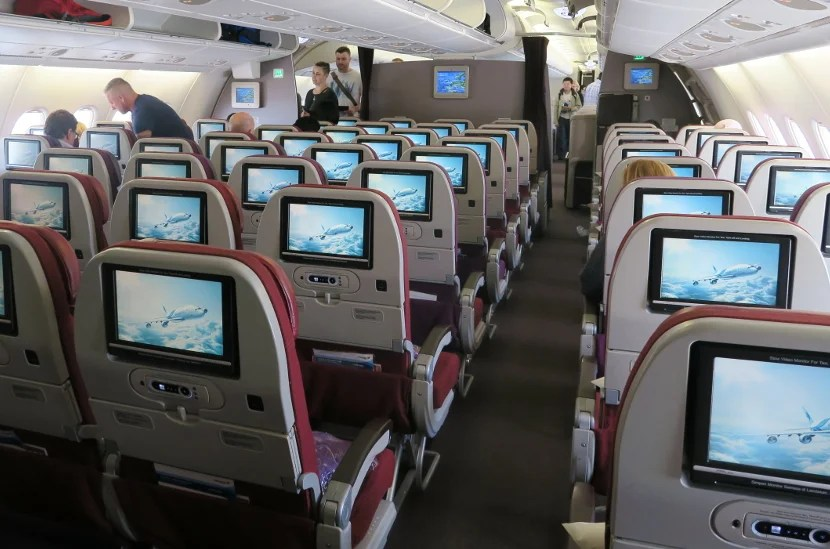 The upper deck economy cabin seating is a 2-4-2 configuration.