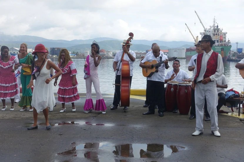 Cuban musicians and dancers greeted us at the port in Santiago de Cuba.