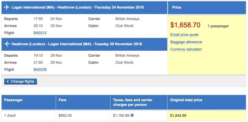 Boston (BOS) to London (LHR) in business class on British Airways for $1,659.