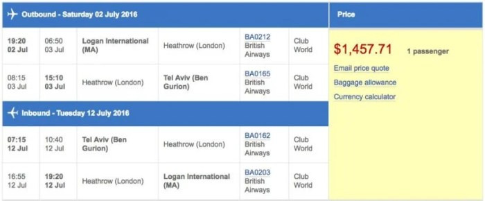 Boston (BOS) to Tel Aviv (TLV) in business class on British Airways for $1,458.