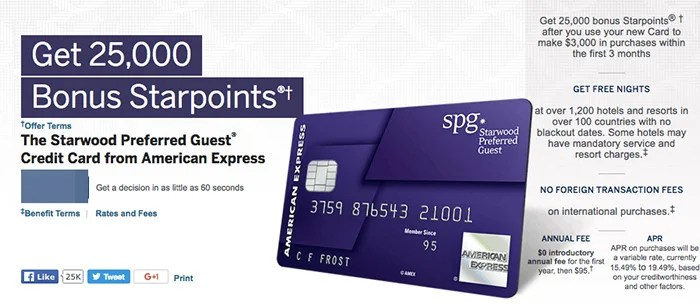 The Starwood Personal card — but not the SPG business card — seems to be
