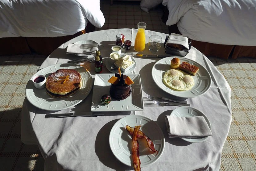 I took full advantage of the free room service breakfast perk that came with my booking.