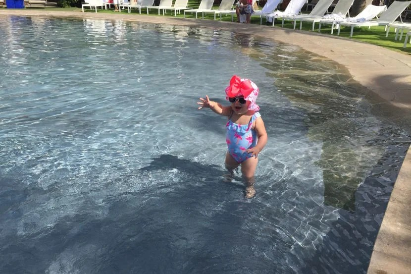 The ability to wade into the water made the main pool very family-friendly.