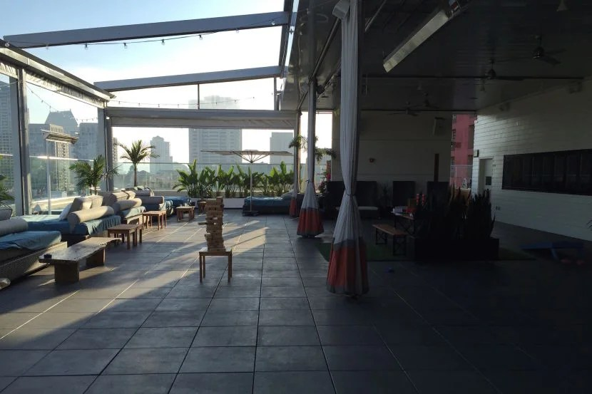 The rooftop area was empty when we visited, though I'm sure it fills up quickly on weekend nights.