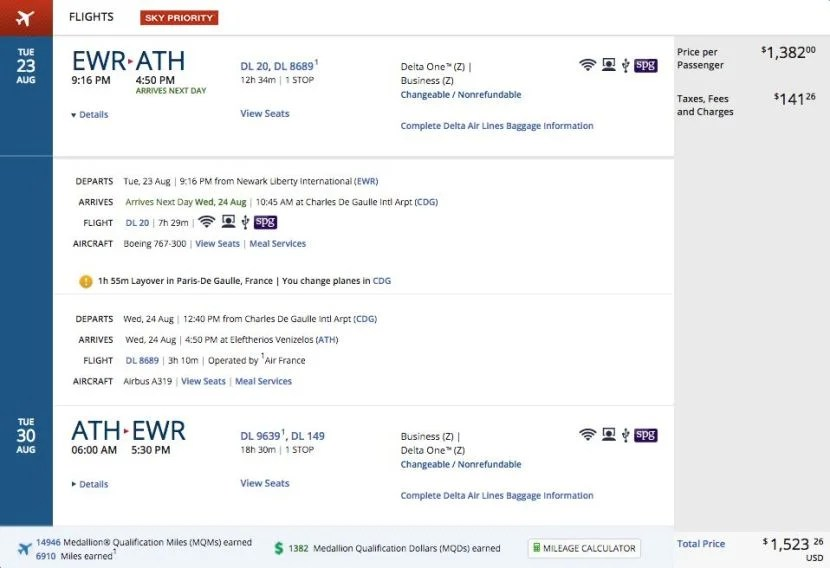 Newark (EWR) to Athens (ATH) for $1,523 round-trip in business class on Delta.