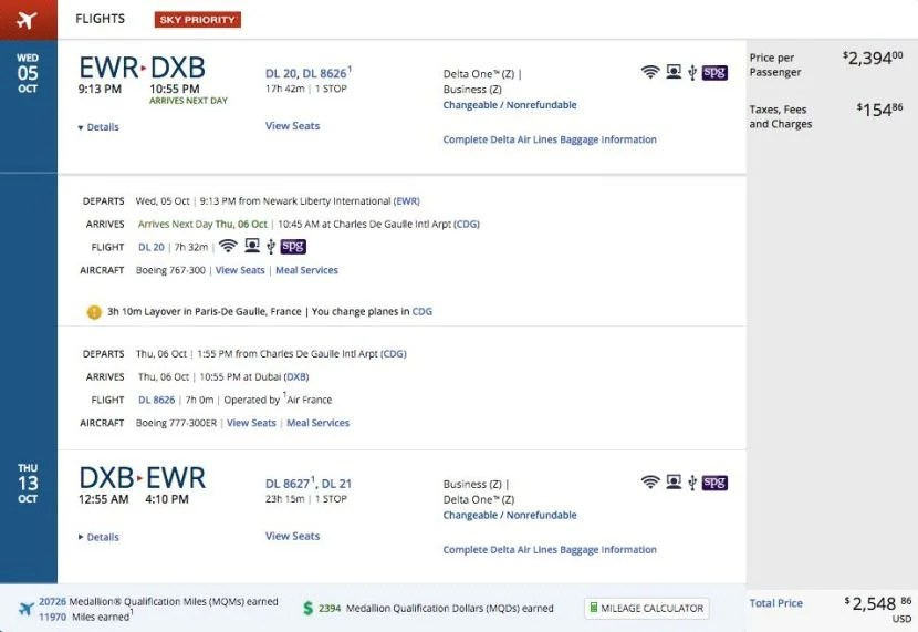 Newark (EWR) to Dubai (DXB) for $2,549 round-trip in business class on Delta.
