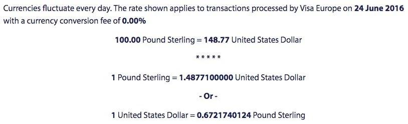 The current Visa exchange rate.