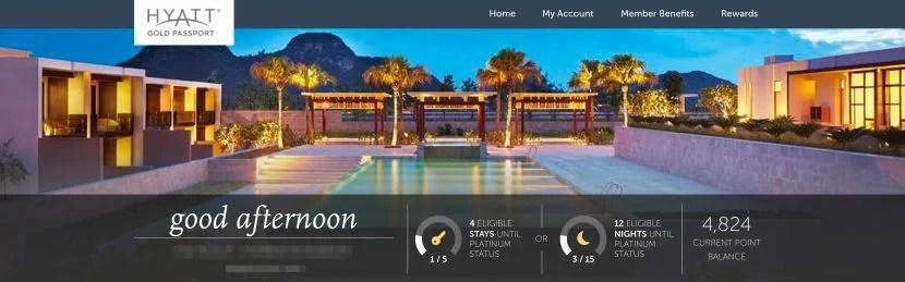 The new dashboard on the Hyatt Gold Passport website.