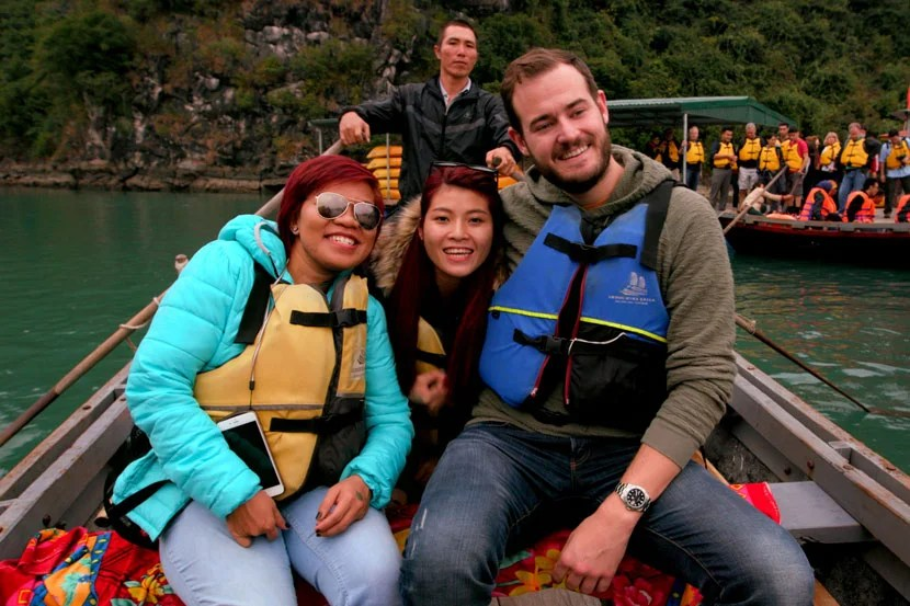 I loved chatting with new friends as we explored the islands of Ha Long Bay.